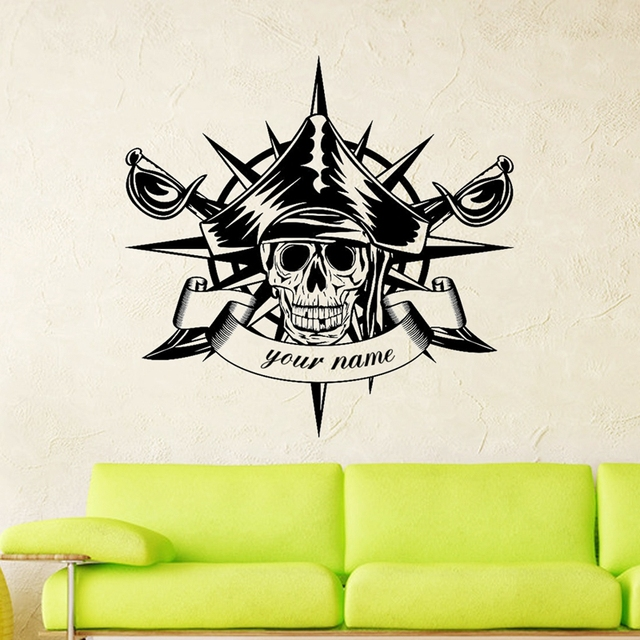 Skull compass swords pirate sticker punk death decal devil poster name car window art wall decals
