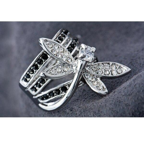 Новинка Высокое качество кубический цирконий Стразы ювелирные изделия Стрекоза Кольца для женщин