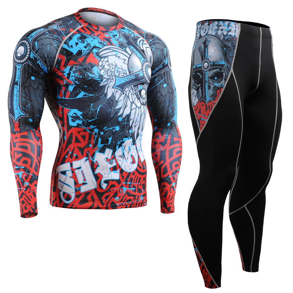 Men Compression Shirts Pants Cycling Base Layers Skin-Tight Gym Training Running Workout Fitness Yoga Clothing Set CFL/P2L-B73 3 piece set men s sports running stretch tights leggings t shirts shorts training pants jogging fitness gym compression suits