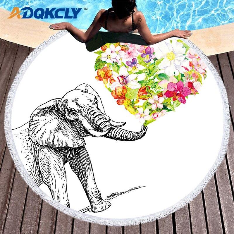 Home & Garden Adqkcly Loves Birds Printing Bath Towel Microfiber Polyester Flamingos Round Beach Towel Adult Yoga Mat Picnic Blankets 150*150 Last Style