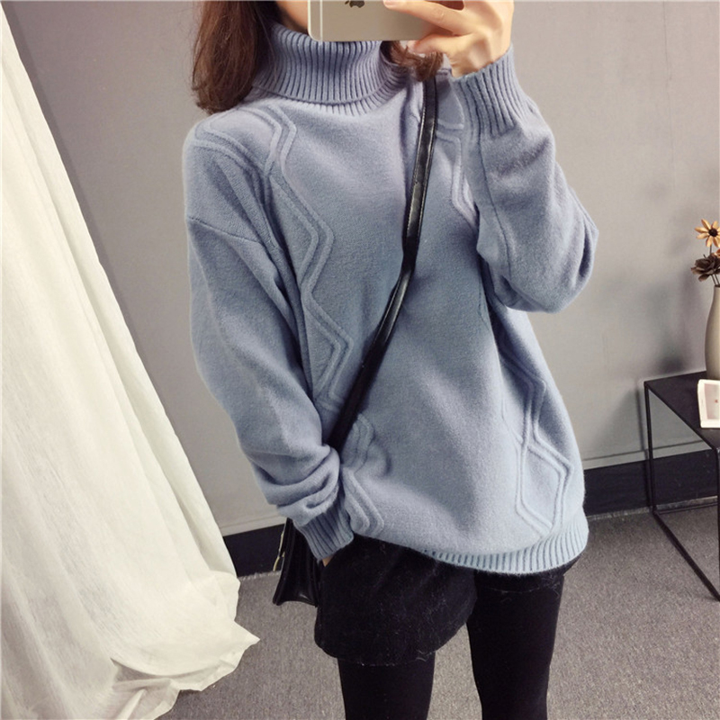 Women Turtleneck Pullover Sweater 2018 Autumn Winter New Tops Female Loose Fashion Sweater High Collar Warm Knit Pullover NO621