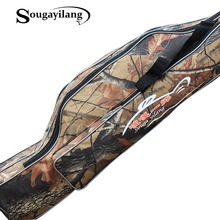 Sougayilang Fishing Rod Bag 130cm Camouflage Double Layer Waterproof Fishing Tackle Bag Canvas Fishing Bag Backpack Fishing Bag