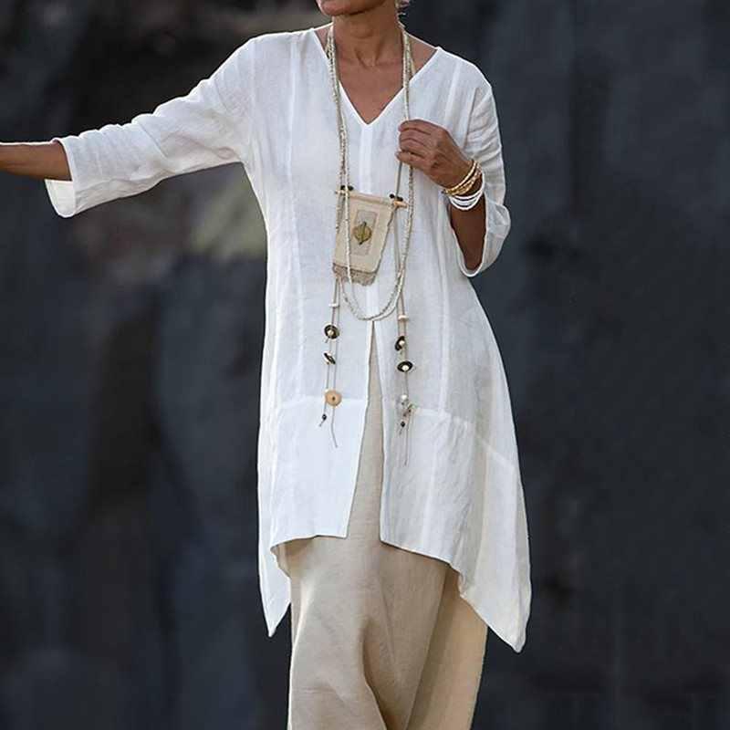 Simple décontracté grande taille Orange été Boho Blouses femmes lâche plaine asymétrique Split noir femme voyage plage t-shirts