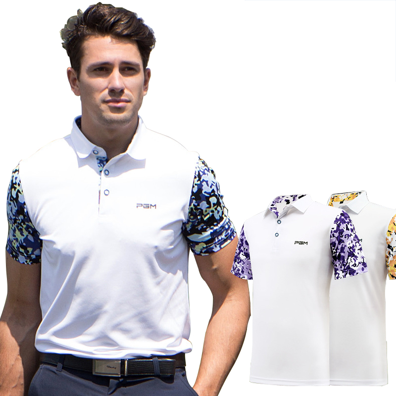 цена PGM Golf T-shirt Men Summer Printed T-shirt Breathable Anti Sweat Man's Golf Polo T-shirts Short Sleeve Golf Tee Training Shirt