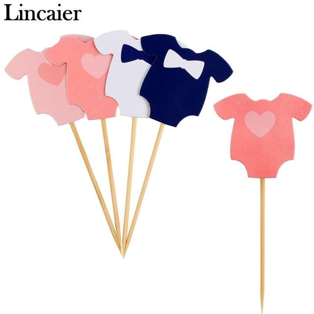 Lincaier 10 Pcs Baby Shower È un Ragazzo Vestiti Della Ragazza Toppers Cupcake D