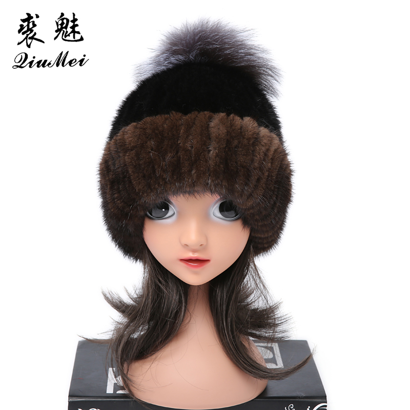 Real Mink Fur Hat for Children Black With Fox Pompom Lining Cap Winter Russian Natural Mink Fur Beanie Hats Kids Girls hm039 real genuine mink hat winter russian men s warm caps whole piece mink fur hats