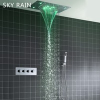 SKY RAIN Concealed Ceiling Waterfall Massage Shower Head Thermostatic Mixer LED Colorful Rainfall Shower Set
