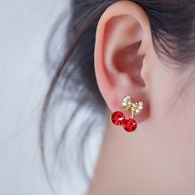 Korean Fashion Rhinestone Red Cherry Stud Earrings For Women Girl small Cute Flower Clothing Jewelry
