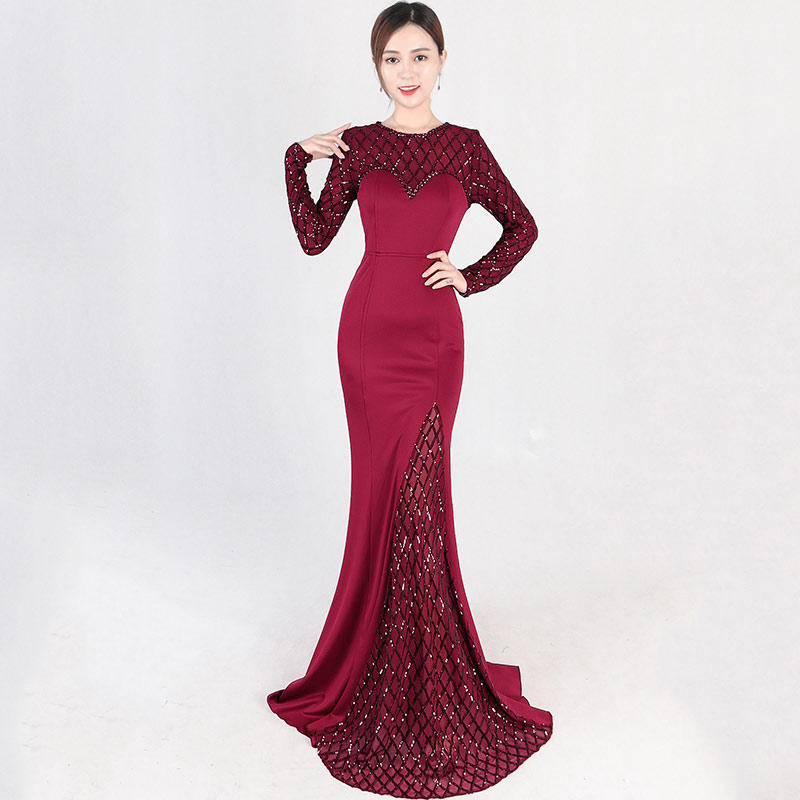 Elegant Luxury Wine Red O Neck Long Sleeve Plaid Pattern Sequin Party Club Dress Sexy Long Mermaid Gown Ladies Formal Dresses in Dresses from Women 39 s Clothing