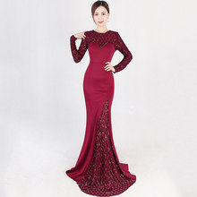 Elegant Luxury Wine Red O Neck Long Sleeve Plaid Pattern Sequin Party Club Dress Sexy Mermaid Gown Ladies Formal Dresses