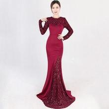 a47a236f1bdbf Şarap kırmızı ekose desen Sequins uzun kollu kat uzunluk Mermaid lüks  elbise parti abiye şık resmi
