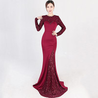 Elegant Luxury Wine Red O Neck Long Sleeve Plaid Pattern Sequin Party Club Dress Sexy Long Mermaid Gown Ladies Formal Dresses
