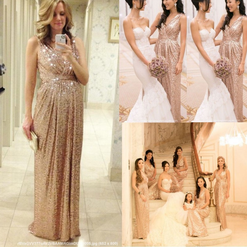 Sequin Bridesmaid Dress 2016 V Neck Ruched Sheath Modest Champagne Gold  Cheap Wedding Party Long Prom Pregnant Evening Gown-in Prom Dresses from  Weddings ... 7102581b8de4