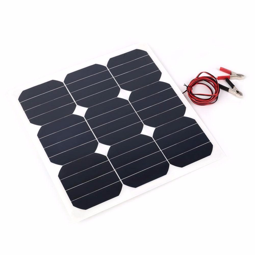 Forfar 18V 30W Portable Smart Solar Power Panel Car RV Boat Battery Bank Charger Universal W/Clip Outdoor camping tool nitecore f2 flexible power bank smart battery charger