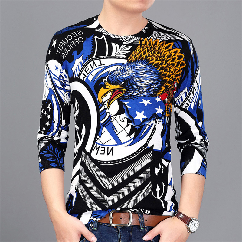 Eagle Pattern Printing Fashion Popular Luxury Pullover Knit Sweater Autumn 2019 New Quality Cotton Soft Elastic Sweater MenM-3XL