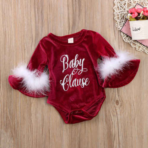 19e652916db2 Cute Santa Baby Claus Kids Girls Flare Sleeve Fur Romper Letter Print  Jumpsuit Outfits Party One