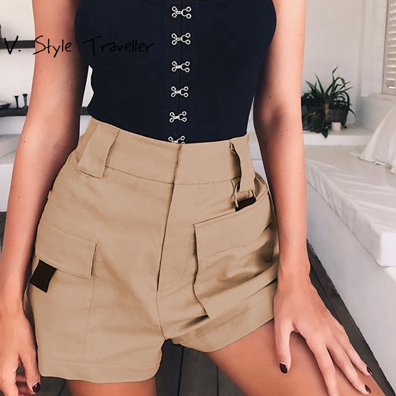 High Rise Khaki Shorts Women Hot Elastic Waist Pockets Jogger Casual Cotton Summer Style Boho Cargo Work Office Lady Trousers ...