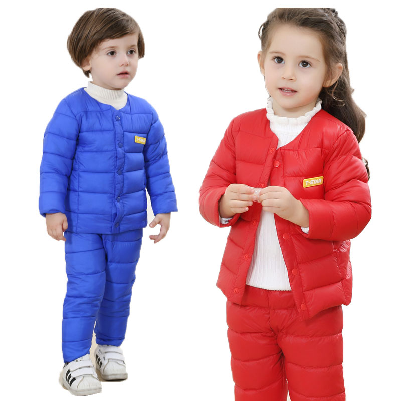 Winter Baby Kit Two-piece Dress Cotton New Baby Clothes Children Winter Thickening Warm Girl Boys Children's Clothing Set children winter coats jacket baby boys warm outerwear thickening outdoors kids snow proof coat parkas cotton padded clothes
