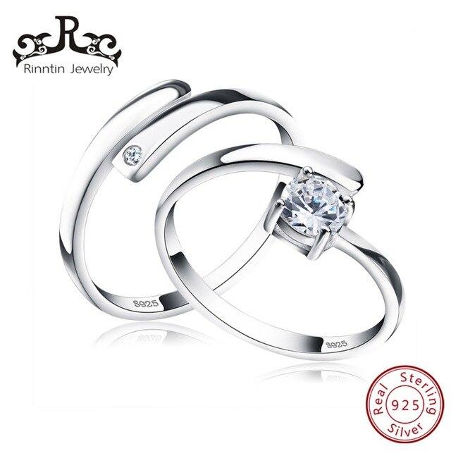 Rinntin 100% Настоящее стерлингового серебра 925 кольца комплект с AAA  кубический с цирконом, изменяемого 3af99b7d3ac