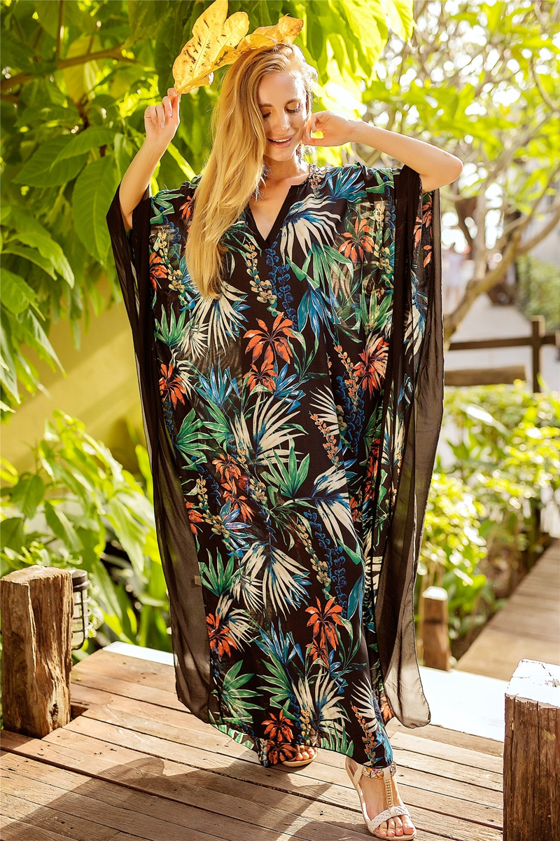 2018 Women Kaftan Beach Dress Summer Covers Up Pareos Sarongs Sexy Cotton Bikini Printed Cover-Up Tunic Swimsuit Robe De Plage chic fringed printed cover up