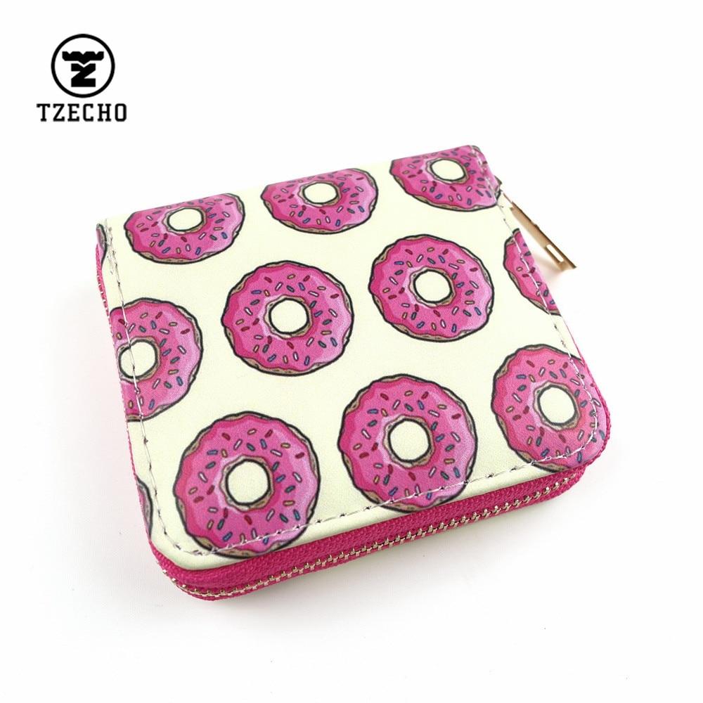TZECHO Zipper Around Womens Wallets Leather Print Donuts Girls Short Money Purses Mini Coin Pocket Small Card Holder Clutch Bag