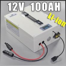 12 V Солнечная энергия storag литий-ионная батарея 12,6 V 100Ah портативный аккумулятор Водонепроницаемая вилка
