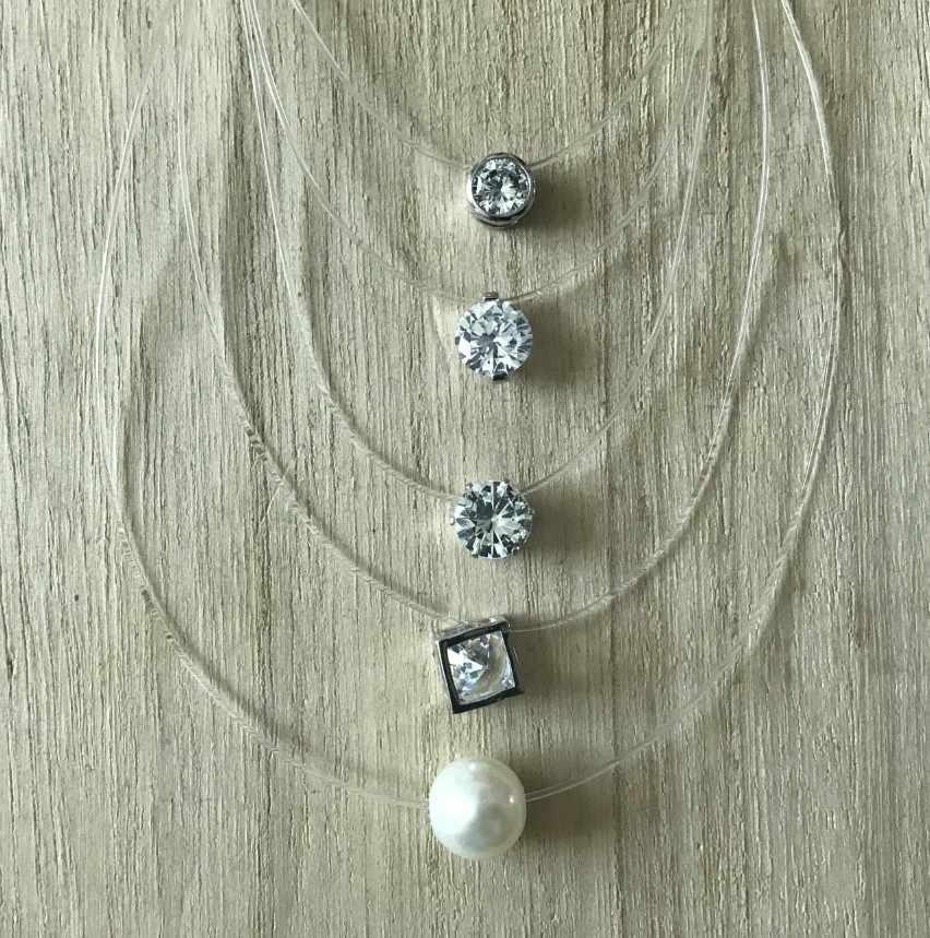 Wanita Line Transparan Memancing Kalung Perak Tak Terlihat Rantai Kalung Wanita Rhinestone Kalung Kalung Collier Femme