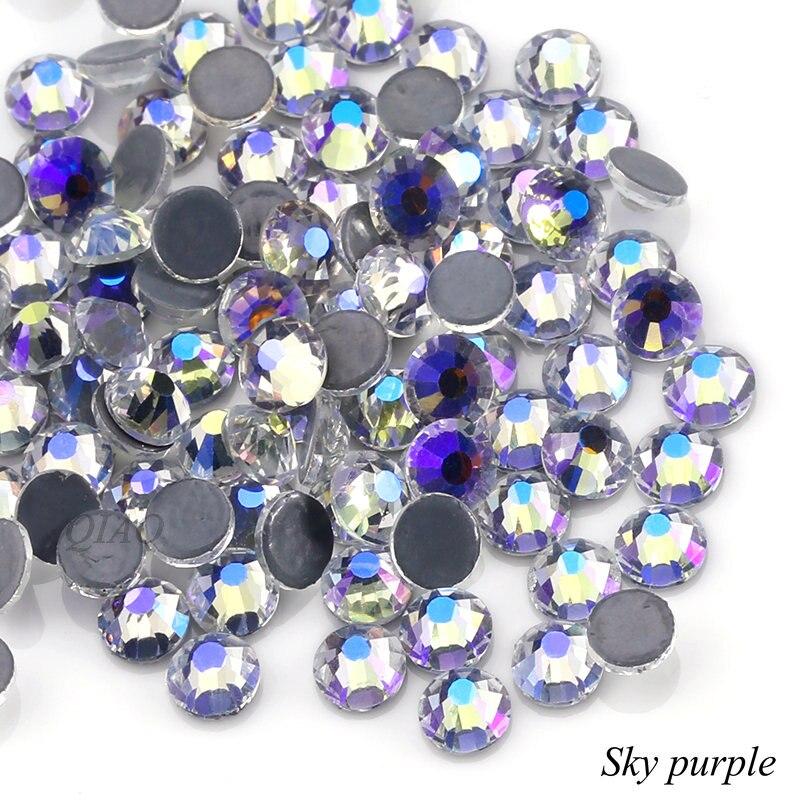 8f3cb2bda5 QIAO Sky Purple Rhinestone SS6-SS20 Hot Fix FlatBack Strass Garment  Rhinestones Hot-fix Stone