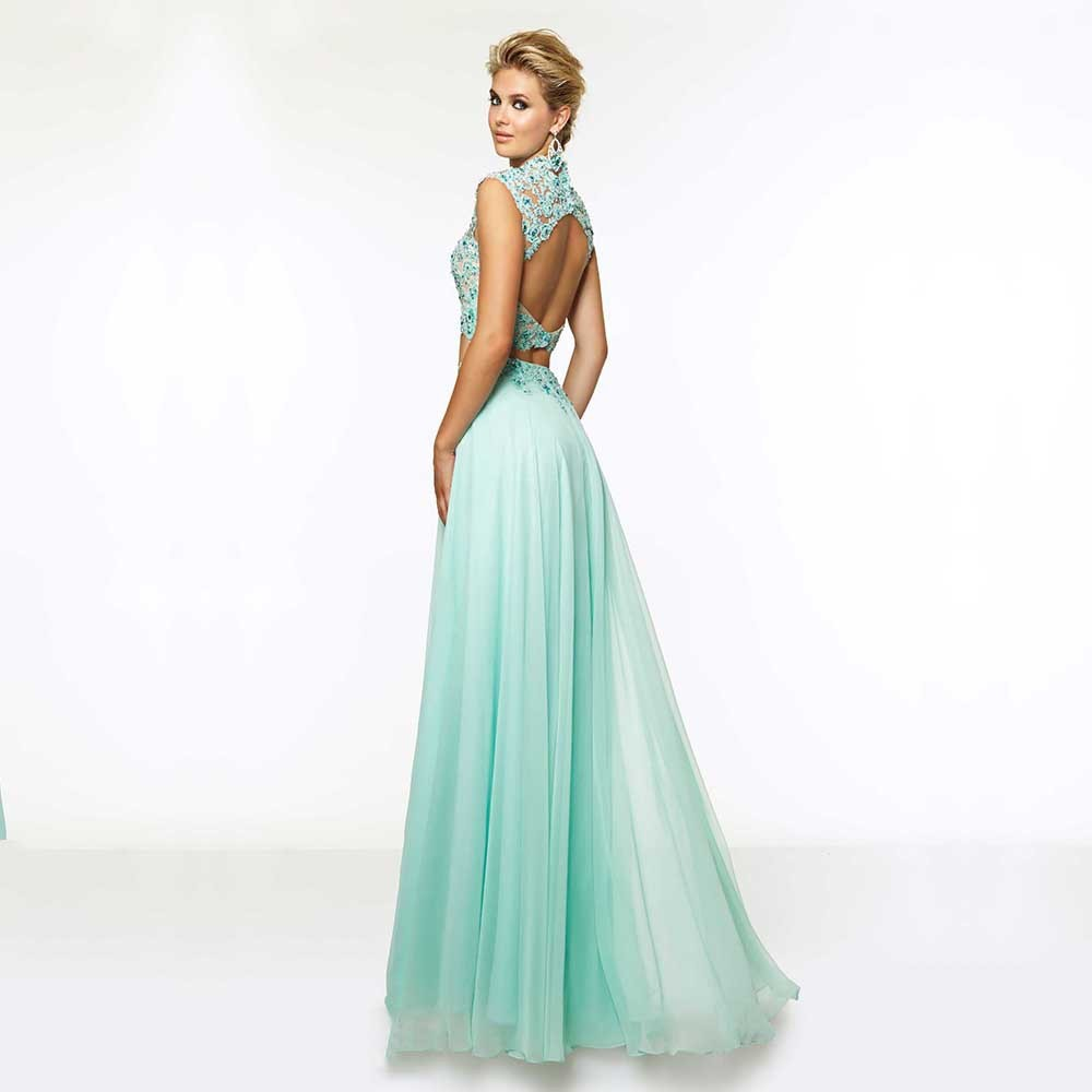 Sexy Open Back Lace Two Pieces Prom Dresses Chiffon Mint Green Prom ...