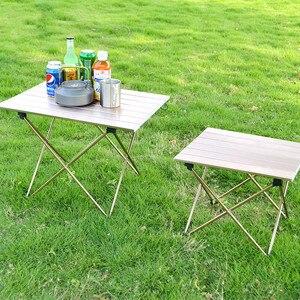 Image 2 - Açık Kamp Taşınabilir Ve Kolay Tel çizim masası Alüminyum Alaşım Katlanır Masa Barbekü Masa Piknik masa lambası Kafein