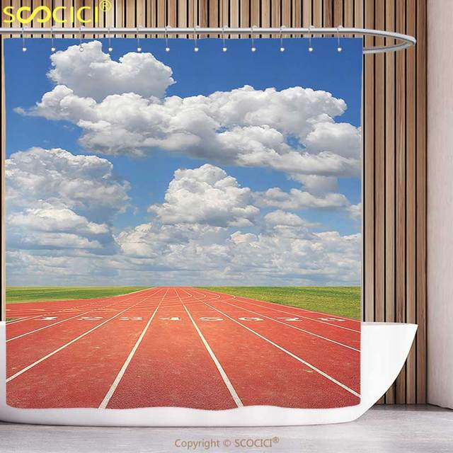 Waterproof Shower Curtain Olympics Decorations Collection Sports Competition Running Track On A Sunny Day Lawn Grass