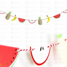 Summer Paper Fruit Garland  Bunting With Pineapple Banana Watermelon Apple Banner Hawaiian Luau Flamingo Party Supplies