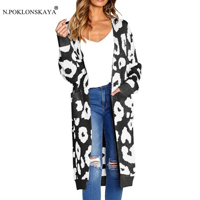 N.POKLONSKAYA Women Fashion Autumn Winter Cardigan Pockets Leopard Knitted Overcoat for Female 2018 Outwear Stretchy Warm Coat