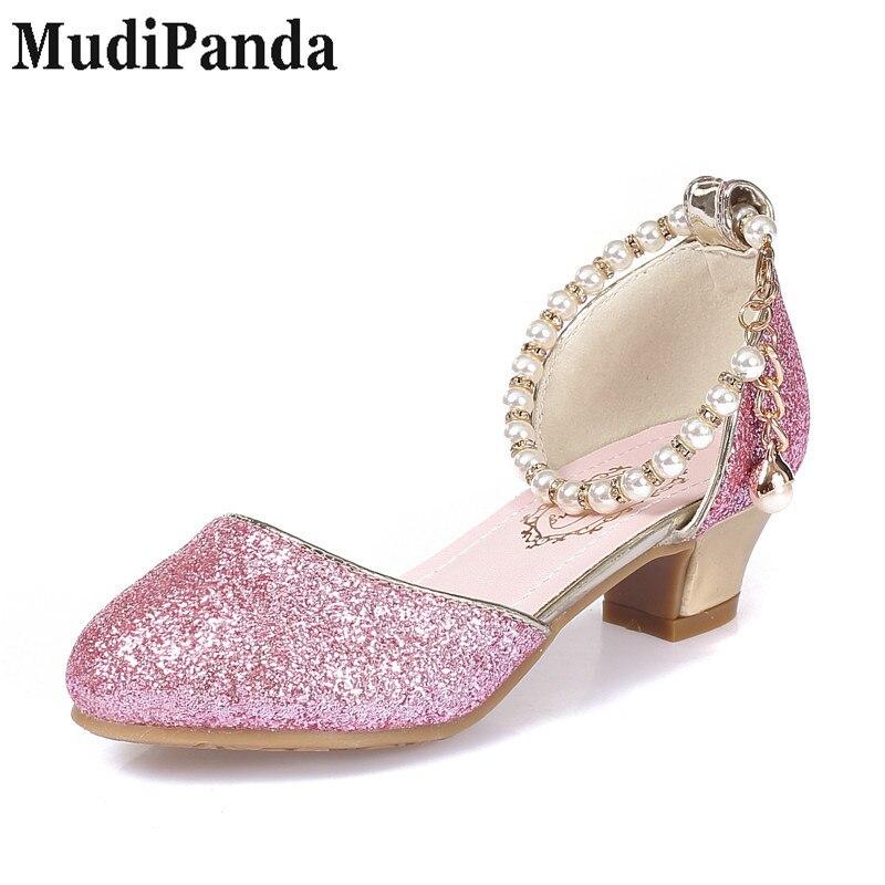 MudiPanda Girls Sandały 2018 nowe perłowe buty dziecięce wysokie - Obuwie dziecięce - Zdjęcie 4