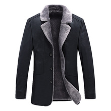 New Men Leather Jacket Autumn Winter Plus Velvet Thicken Business Casual Lapel Coats Long sleeve Single