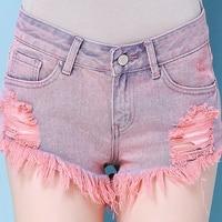High Quality Sexy Hot Short Jeans Women 2017 Vintage Pink Hole Mid Waist Denim Shorts Slim Plus Size New Fashion Style