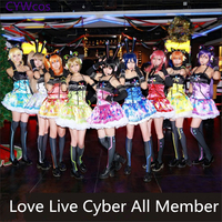 Customized Love Live Cosplay Games Cyber Light Up Cosplay Costume Women Dress All Member Eli Nozomi Maki Nico Cos Shinning Dress