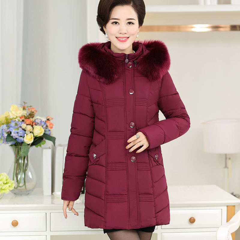 Middle-Aged Hooded Fur Collar Down Cotton Winter Jacket Women Large Size Thicken Long Parka Women Abrigo Mujer Outerwear C4774