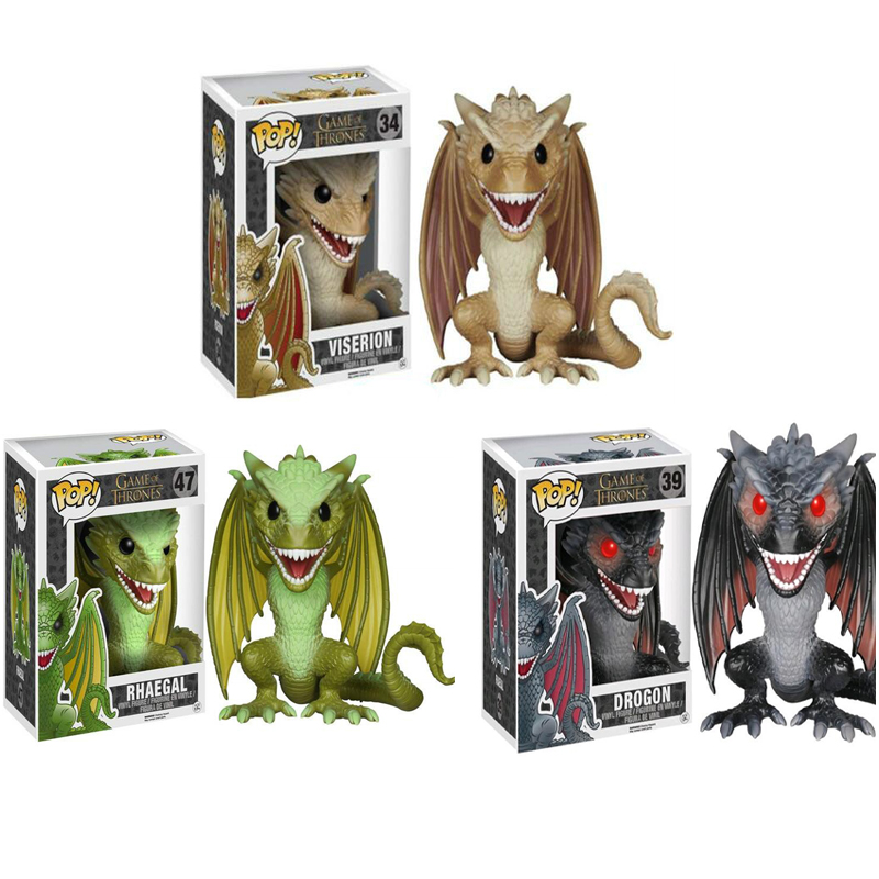 FUNKO POP Game Of Thrones Collection Model Toys DROGON VISERION RHAEGAL  Action Figure Dolls Toy For Kids Christmas Gifts