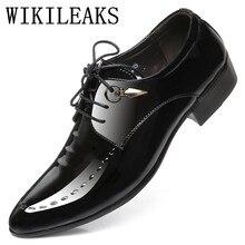 d27a1bffc Мужские нарядные туфли с острыми носками Роскошные Дизайнерские брендовые  итальянские Лакированная кожа обувь Человек платье для