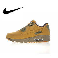 Original New Arrival Authentic Nike Air Max 90 Premium Men's Running Shoes Sport Outdoor Sneakers Winter Flax 683282 700