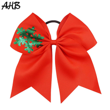 AHB 7 Large Hair Bows for Girls Cheer Snowflake Printed Hairbows Rubber Band Christmas Party Kids Accessories