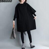 DIMANAF Women Plus Size Long Hoodies Sweatshirts Ladies Tops Pullover Female Clothes Black Cotton Thick Loose 2018 Autumn Winter