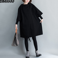 DIMANAF Women Plus Size Long Hoodies Sweatshirts Ladies Tops Pullover Female Clothes Black Cotton Thick Loose 2018 Autumn Winter