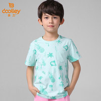 DOOLLEY Pink / Green Boy Lovely Summer T-shirt 2017 New Arrival Kids Fashion Casual Tops Tees Children Clothes Size 120-175 cm