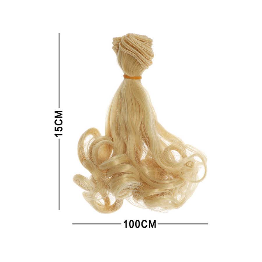15 см парики с волнистыми волосами для куклы коричневого цвета и цвета хаки; черные высокие Температура термостойкие куклы волосы 1/3 1/4 1/6 BJD Diy кукла парики Бесплатная доставка