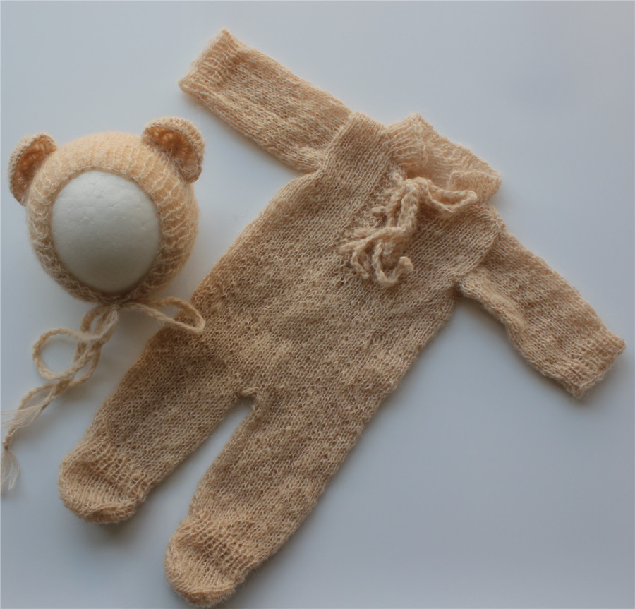 Newborn Photography Outfit Newborn Onesie and Bear Hat  Newborn Footed Romper with  Bear Bonnet  Mohair Outfit  Photo Prop