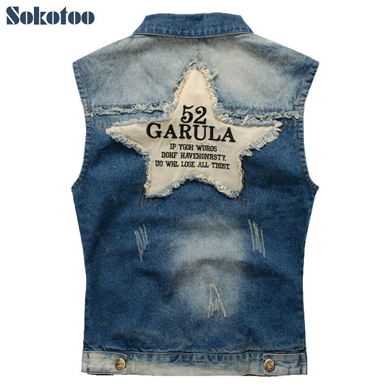 Sokotoo Men's  Denim Vest Male Five-pointed Star Letter Outerwear Patchwork Denim Jacket Plus Large Size Tank Top Free Shipping