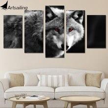 Hd печать 5 шт Холст Искусство красный глаз Волк картина стены