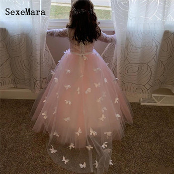 White/Pink Little Girls Dresses for Wedding Lace 3D Butterflies Puffy Tulle Little Princess Birthday Party Dress Communion Gown
